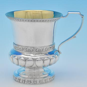 B8199: Antique Sterling Silver Christening Mug - Charles Fox Hallmarked In 1821 London - Georgian - Image 1
