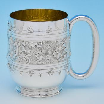 B8200: Antique Sterling Silver Christening Mug - Henry Holland Hallmarked In 1892 Sheffield - Victorian - Image 1