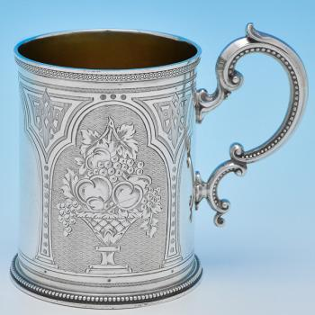 B8225: Antique Sterling Silver Christening Mugs - Barnard Brothers Hallmarked In 1870 London - Victorian - Image 1