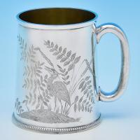 B8830: Antique Sterling Silver Christening Mugs - Henry J Lias &James Wakely Hallmarked In 1880 London - Victorian - Image 1