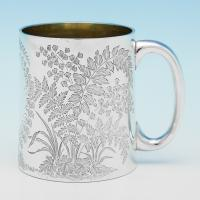 B9605: Antique Sterling Silver Christening Mug - J.N. Mappin  Hallmarked In 1880 Sheffield - Victorian - Image 1