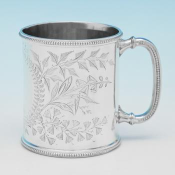 B9784: Antique Sterling Silver Christening Mug - Fenton Bros. Ltd. Hallmarked In 1881 Sheffield - Victorian - Image 1