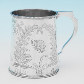 B9908: Antique Sterling Silver Christening Mug - Charles Boyton Hallmarked In 1878 London - Victorian - Image 1