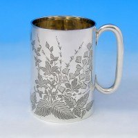 j2005: Antique Sterling Silver Christening Mug - Henry Atkins Hallmarked In 1907 Sheffield - Edwardian - image 1