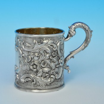 j5897: Antique Sterling Silver Christening Mug - Henry Wilkinson & Co. Hallmarked In 1837 Sheffield - Victorian - image 1