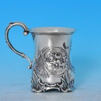 j7698: Antique Sterling Silver Christening Mug - George John Richards Hallmarked In 1852 London - Victorian - image 1