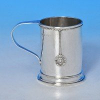 j8662: Sterling Silver Christening Mug - A. E. Jones Hallmarked In 1923 Birmingham - George V  - image 1