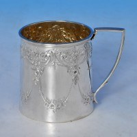 j8726: Antique Sterling Silver Christening Mug - Hallmarked In 1895 Sheffield - Victorian - image 1