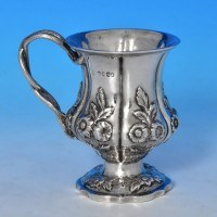 j8733: Antique Sterling Silver Christening Mug - Charles & George Fox Hallmarked In 1831 London - William IV  - image 1