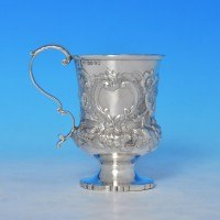 j9218: Antique Sterling Silver Christening Mug - Edward Barton Hallmarked In 1835 London - William IV  - image 1