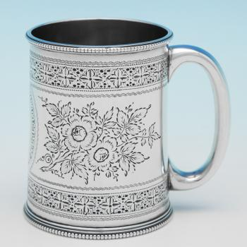 L0035: Antique Sterling Silver Christening Mug - Mappin & Webb Hallmarked In 1893 Sheffield - Victorian - Image 1