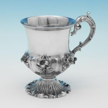 L0088: Antique Sterling Silver Christening Mug - Unknown Hallmarked In 1838 London - Victorian - Image 1