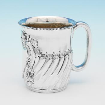 L0559: Antique Sterling Silver Christening Mug - J N Mappin Hallmarked In 1895 London - Victorian - Image 1