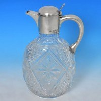 b0025: Antique Sterling Silver Claret Jug - William Hutton & Sons Hallmarked In 1898 London - Victorian - image 1