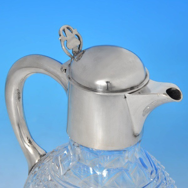 b0025: Antique Sterling Silver Claret Jug - William Hutton & Sons Hallmarked In 1898 London - Victorian - image 2