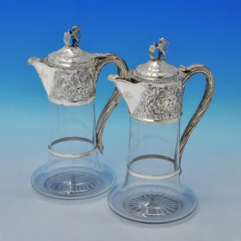 B2756: Antique Sterling Silver Pair Of Claret Jugs - Charles Boyton Hallmarked In 1874 London - Victorian - Image 1