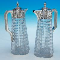 B4829: Antique Sterling Silver Pair Of Claret Jugs - John Grinsell & Sons Hallmarked In 1890 Birmingham - Victorian - Image 6