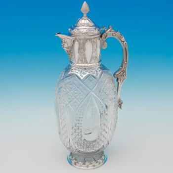 B6527: Antique Sterling Silver Claret Jug - D. & C. Edwards Hallmarked In 1891 London - Victorian - Image 1