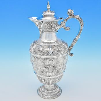B6699: Antique Sterling Silver Claret Jugs - James Dixon & Sons Hallmarked In 1895 Sheffield - Victorian - Image 1