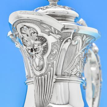 B6699: Antique Sterling Silver Claret Jugs - James Dixon & Sons Hallmarked In 1895 Sheffield - Victorian - Image 3
