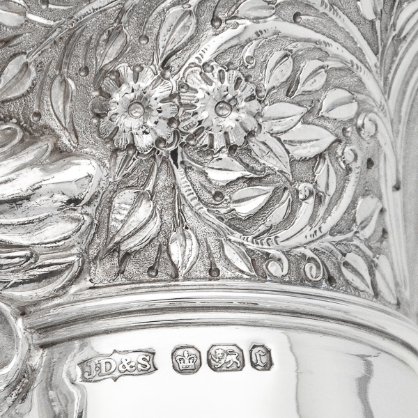 B6699: Antique Sterling Silver Claret Jugs - James Dixon & Sons Hallmarked In 1895 Sheffield - Victorian - Image 4