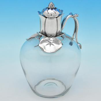 B7364: Antique Sterling Silver Claret Jug - E. H. Stockwell Hallmarked In 1881 London - Victorian - Image 1