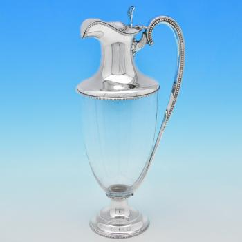 B7634: Antique Sterling Silver Claret Jugs - Goldsmiths & Silversmiths Co. Hallmarked In 1903 London - Edwardian - Image 1
