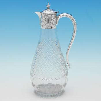 B9647: Antique Sterling Silver Claret Jug - H Atkins Hallmarked In 1899 Sheffield - Victorian - Image 1