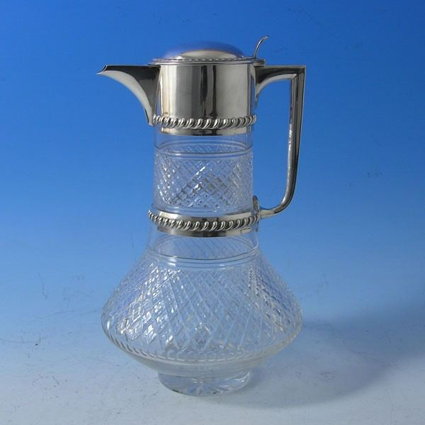 d9258: Antique Sterling Silver Claret Jug - John Grinsell & Sons Hallmarked In 1902 London - Edwardian - image 1