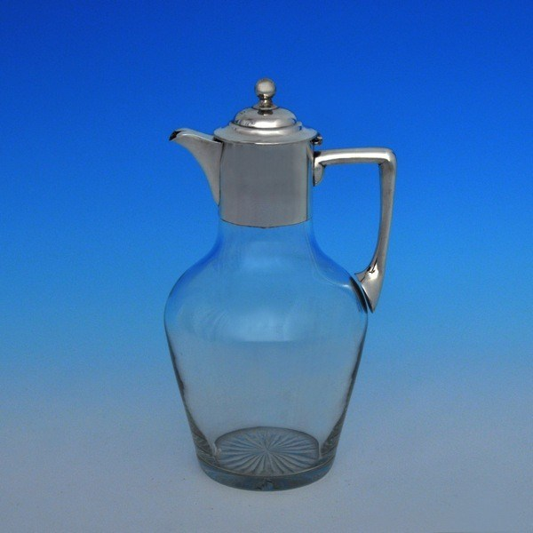 j6218: Antique Sterling Silver Claret Jug - John Sherwood & Sons Hallmarked In 1898 Birmingham - Victorian - image 1