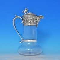 j8441: Antique Sterling Silver Claret Jug - John Grinsell & Sons Hallmarked In 1892 Birmingham - Victorian - image 1