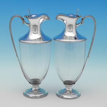 L0458: Antique Sterling Silver Claret Jugs - W & C Sissons Hallmarked In 1894 Sheffield - Victorian - Image 1