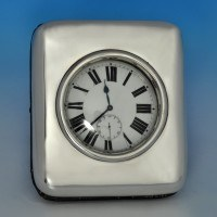 j7222: Antique Sterling Silver Clock - William Comyns Hallmarked In 1898 London - Victorian - image 1