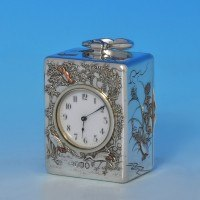 j7965: Antique Sterling Silver Clock - Walter Thornhill Hallmarked In 1879 London - Victorian - image 1