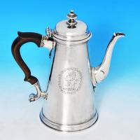 B1046: Antique Sterling Silver Coffee Pot - Unknown Hallmarked In 1728 London - Georgian - Image 1