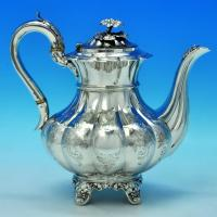 B1411: Antique Sterling Silver Coffee Pot - Emes & Barnard Hallmarked In 1827 London - Georgian - Image 1