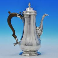 B2138: Antique Sterling Silver Coffee Pot - Unknown Hallmarked In 1754 London - Georgian - Image 1
