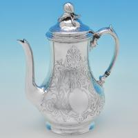 B6318: Antique Sterling Silver Coffee Pot - William Smily Hallmarked In 1851 London - Victorian - Image 1