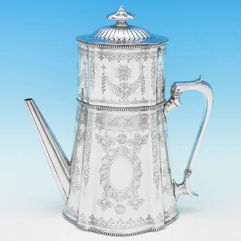 B9170: Antique Sterling Silver Coffee Pot - Steven Smith Hallmarked In 1875 London - Victorian - Image 1