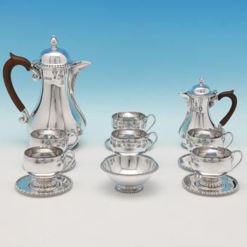 B9587: Antique Sterling Silver Coffee Sets - Russells Ltd. Hallmarked In 1909 London - Edwardian - Image 1