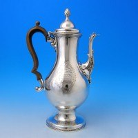 d3184: Antique Sterling Silver Coffee Pot - John King Hallmarked In 1778 London - George III Georgian - image 1