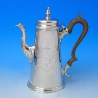 e6781: Antique Sterling Silver Coffee Pot - Edward Vincent Hallmarked In 1738 London - George II Georgian - image 1