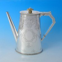 j3046: Antique Sterling Silver Coffee Pot - Steven Smith Hallmarked In 1875 London - Victorian - image 1