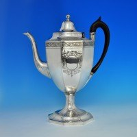 j5929: Antique Sterling Silver Coffee Pot - George Smith II & Thomas Hayter Hallmarked In 1801 London - George III Georgian - im