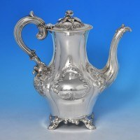 j9600: Antique Sterling Silver Coffee Pot - John Smyth Hallmarked In 1855 Dublin - Victorian - image 1