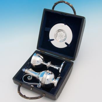 B6257:  Sterling Silver Communion Set - Walker & Hall Hallmarked In 1940 Sheffield - George VI - Image 1