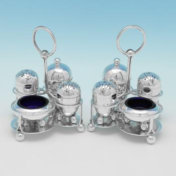 L0299: Antique Sterling Silver Pair Of Condiment Sets - H Wilkinson Hallmarked In 1882 Sheffield - Victorian - Image 1