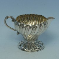 d3006: Antique Sterling Silver Cream Jug - John Mappin Hallmarked In 1889 London - Victorian - image 1