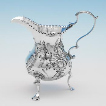 J1331: Antique Sterling Silver Cream Jug -  Made Circa 1750 Jersey - Georgian - Image 1