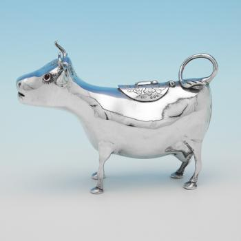 L0069: Antique Sterling Silver Cow Creamer - Samuel Boyce Landeck Hallmarked In 1893 London - Victorian - Image 1